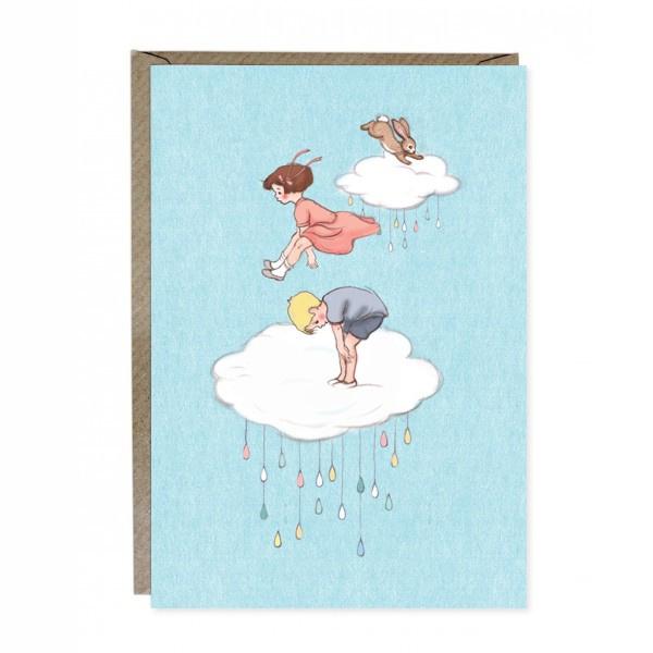 Wenskaart Belle & Boo Cloud Jumping