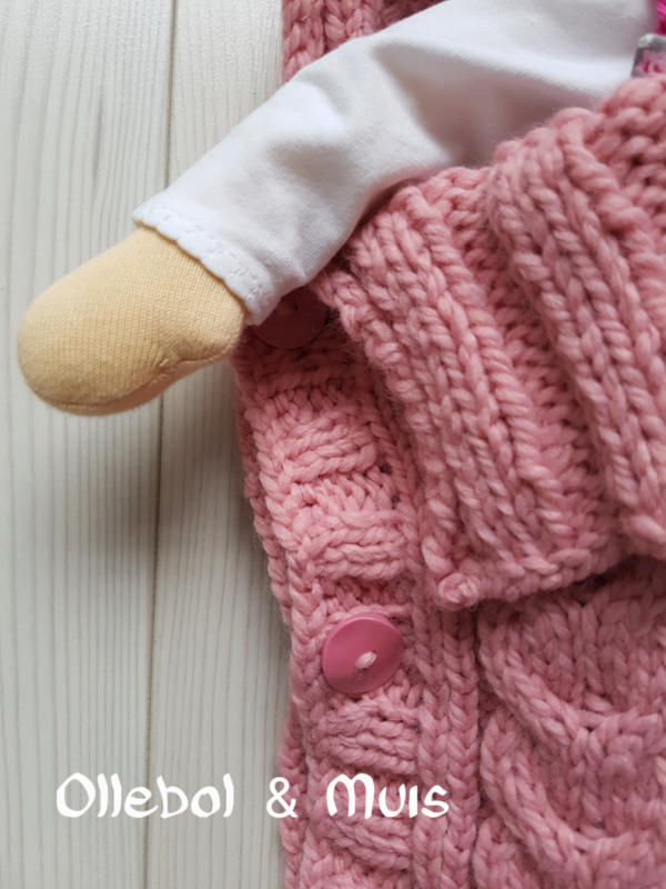 Hand knitted old pink doll sleeping bag