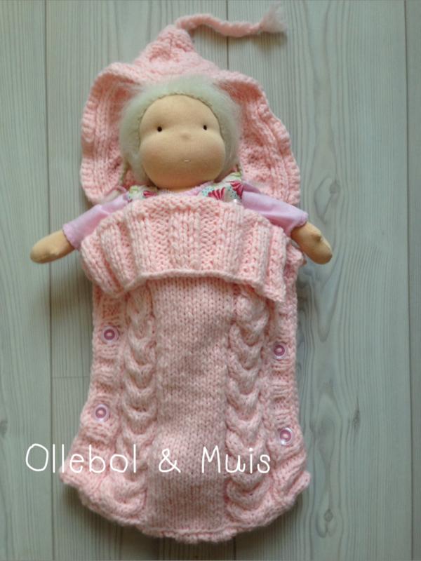 Hand knitted light pink doll sleeping bag