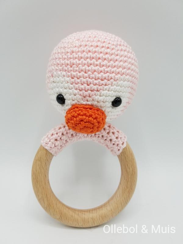 Rammelaar / bijtring roze pinquin