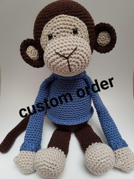 Custom order gehaakte aap denim