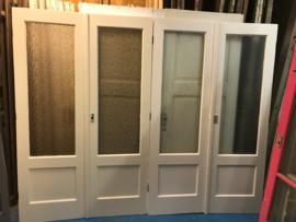 nr. set588 jaren 30 smalle paneeldeur setjes met bewerkt glas