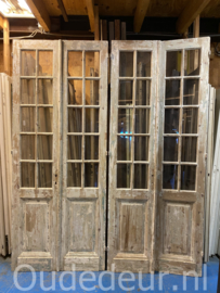 nr. set514 3 gelijke setjes geloogde oude glasdeuren