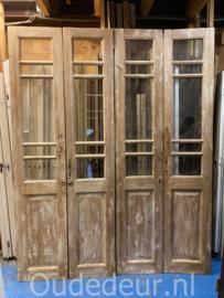 nr. set508 6x set antieke glasdeuren geloogd