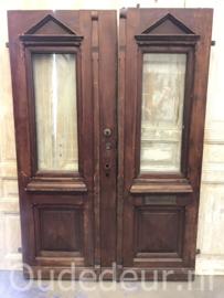 nr. set753 stel antieke hardhouten deuren met dubbel glas