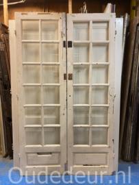 nr. set970 antieke dubbele deuren met 12 ruitjes