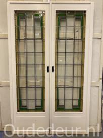 nr. e322 set ensuite deuren met glas in lood