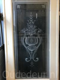nr. e240 set antieke ensuite deuren met geslepen glas