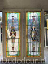 nr. e307 grote set glas in lood schuifdeuren
