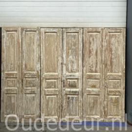 nr. set492 2 gelijke sets half geloogde antieke deuren