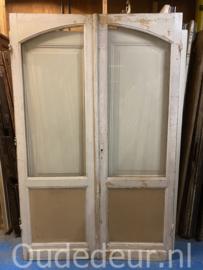 nr. set975 antieke dubbele deuren met facet glas