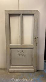 nr. 204O lage brede antieke paneeldeur met glas