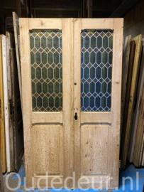 nr. set910 twee geloogde antieke deuren met folie op het glas