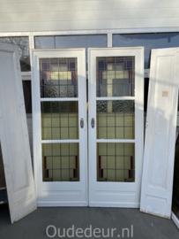 nr. E389 glas in lood ensuite deuren met 2 zijpanelen