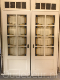 nr. e257 set jaren dertig glas in lood deuren