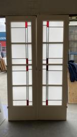 nr. e398 set glas is lood deuren met mat glas