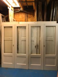 nr. set589 jaren 30 paneeldeur setjes met helder glas