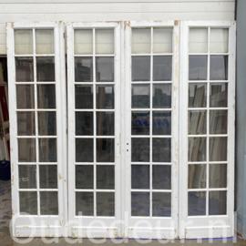 nr. set594 4-slag antieke deuren met geslepen glas