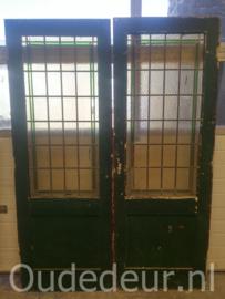 nr. e179 set oude  glas in lood deuren
