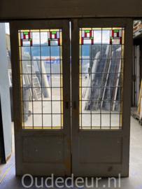 nr. e405 set oude glas in lood deuren
