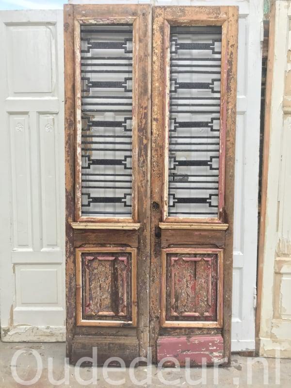 nr. set901 stel antieke deuren met staal