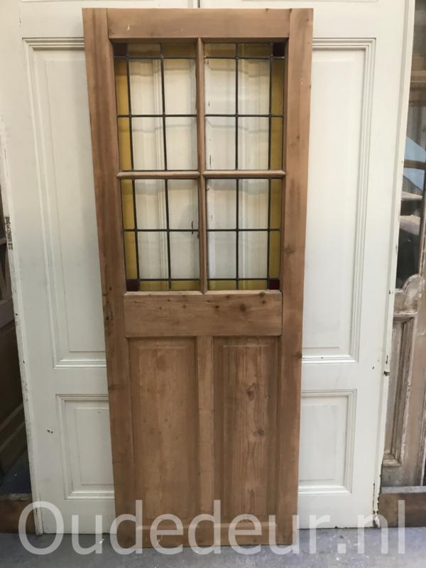 nr. gl349 geloogde glas in lood deur