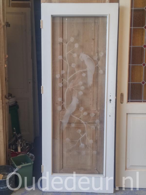 nr. gl334 deur met geetste vogels