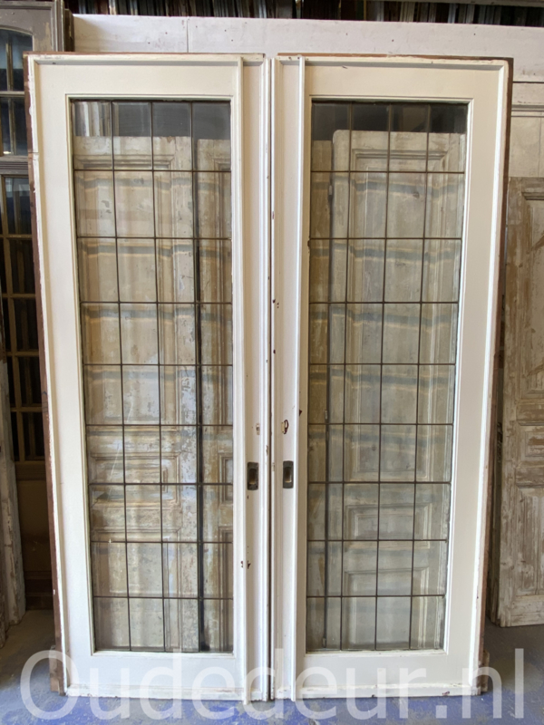 nr. e299 grote set ensuite deuren met glas in lood met geslepen glas