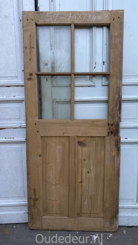 nr. 1442 antieke geloogde deur, 4 ruitjes