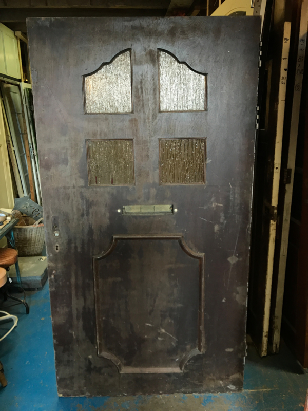 nr. v91 brede triplex deur met ruitjes