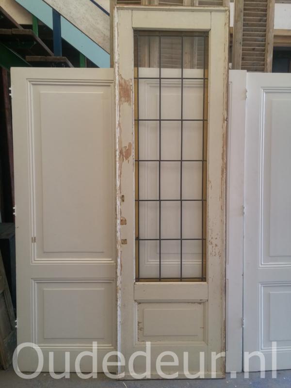 nr. gl333 enkele glas in lood schuif deur