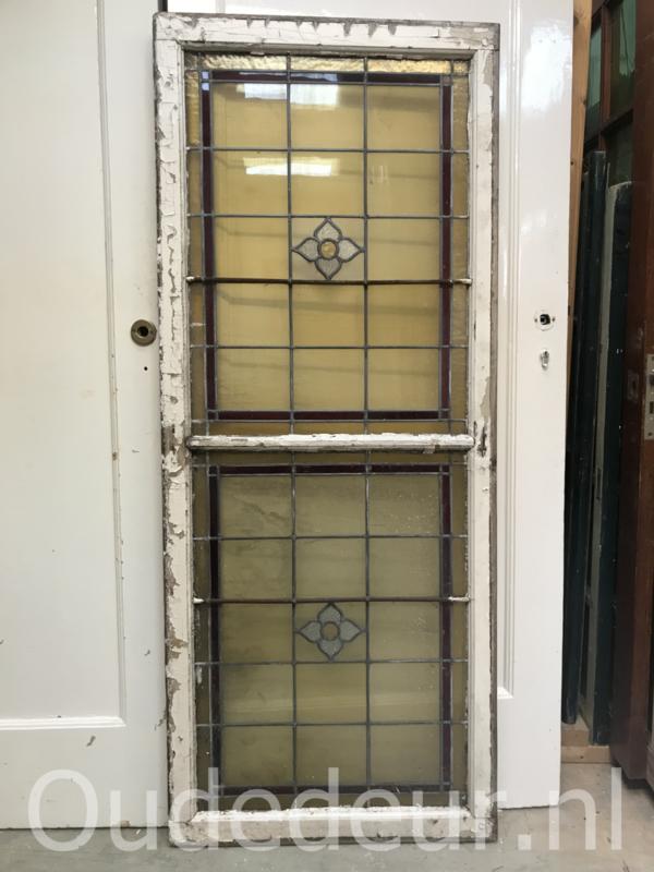 nr. GL385 oude glas in lood raam