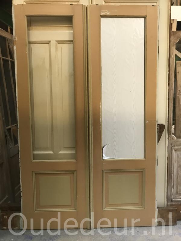 nr. e195 set ensuite deuren antiek met ombouw