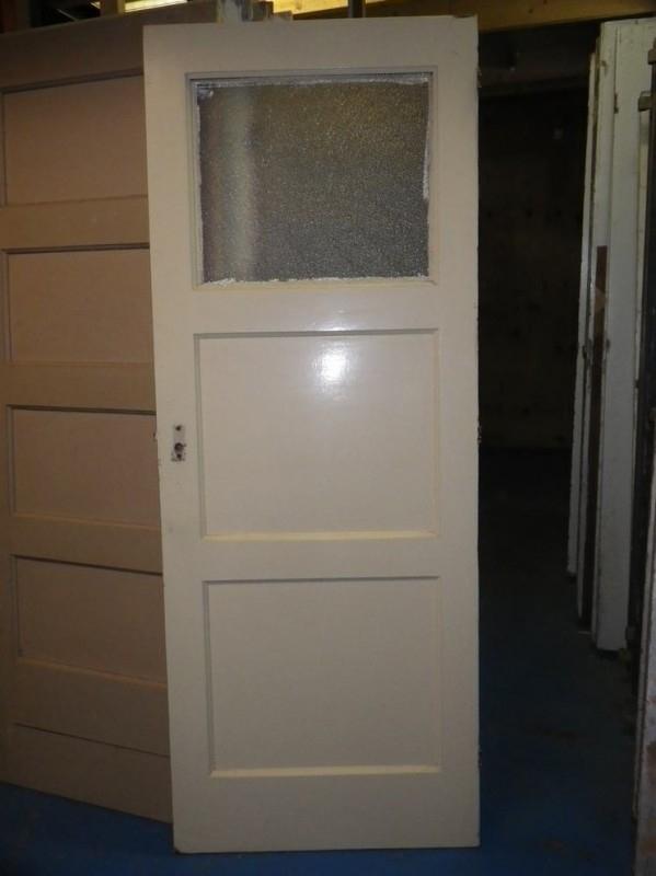 nr. 4a drievlaks deuren jaren dertig met glas  Bruynzeel (meerdere stuks)