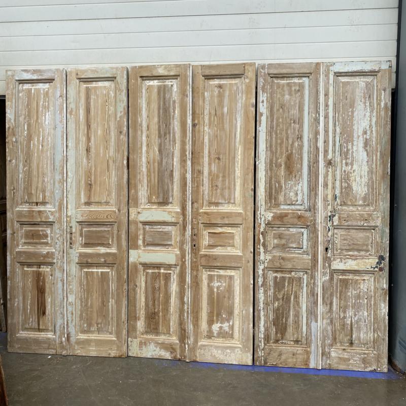 nr. set491 nog 2 gelijke sets oude deuren half geloogd