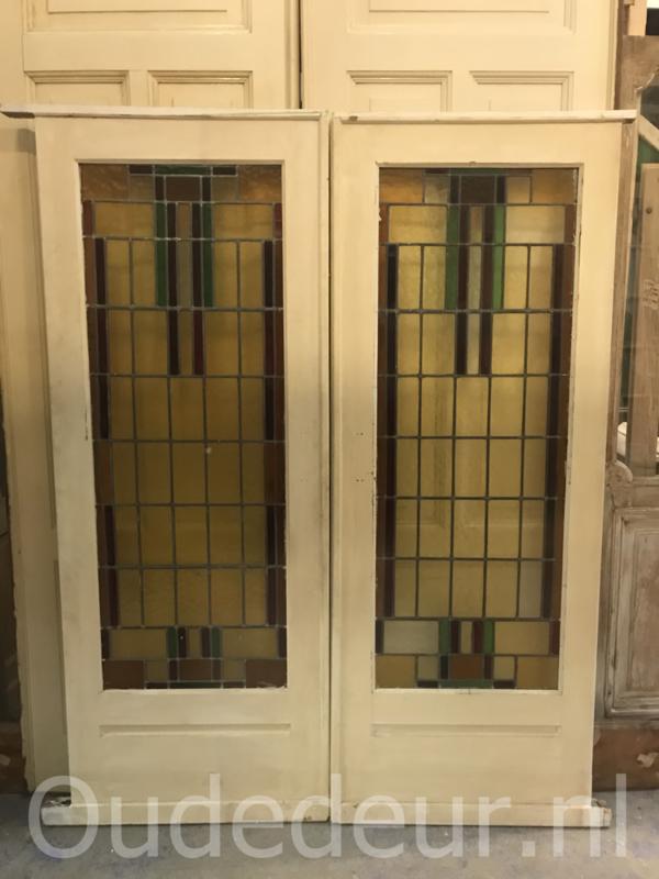 nr. e182 set glas in lood deuren