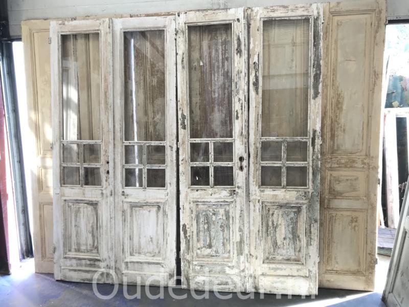 nr. set601 acht sets antieke deuren met blank glas