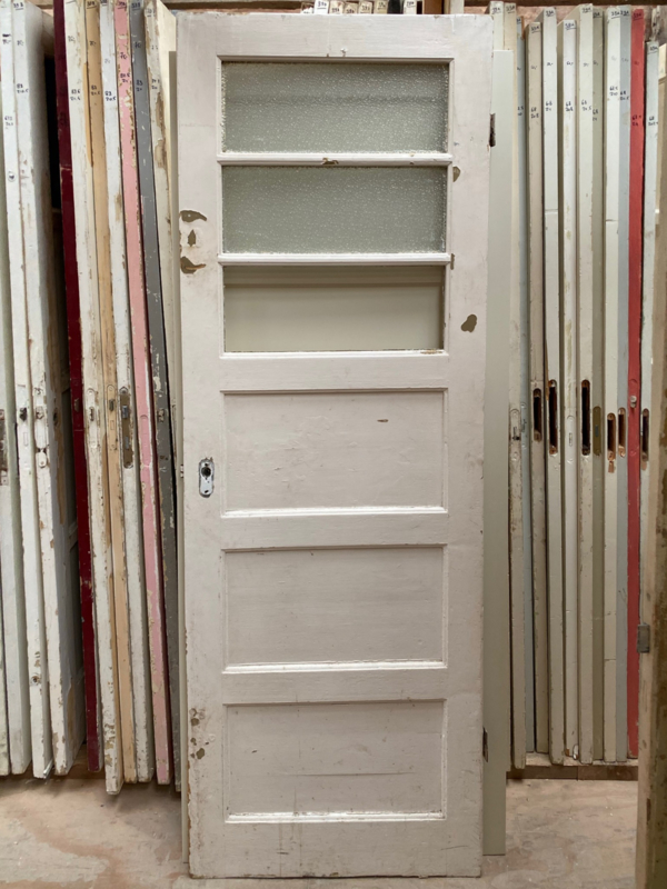 nr. 8d Bruynzeelpaneeldeur jaren 30 met 3 ruiten (5vlaks)