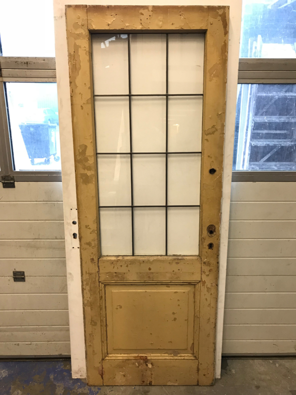 nr. gl323 antieke glas in lood deur met helder glas