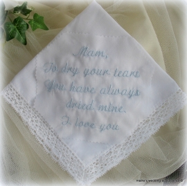 Tekst bruidszakdoekje kant en klaar.  Bride enz.. (u-10)
