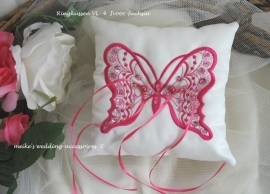 Ringkussen vlinder  VL-4  ivoor-fuchsia