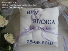 Ringkussen B-6  Ivoor met lila/paars of roze/fuchsia of ........?  NIEUW !  (u-14)