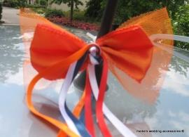 Luxe antennestrik  met 4 (!) lintjes, grote oranje strik  met tule