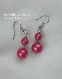 Oorbellen M-KL-1  Fuchsia glasparels  NIEUW !!