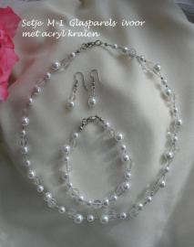 Bruidssetje M-1  glasparels ivoor met glaskralen  NIEUW !!
