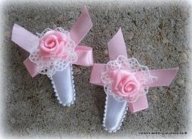 Haarclipjes  HA-br-baby-2  Wit met roze (per 2 )