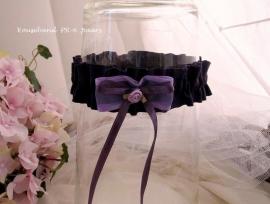 Kouseband  PR-6  Paars met lila strikje en lila roosje NIEUW !!
