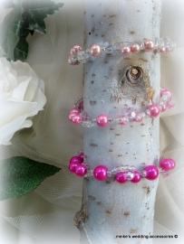 Armbandjes lichtroze. roze en fuchsia