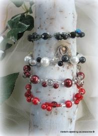 Armbandjes Zwart/wit - bordeaux en rood