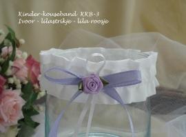 Kinder-kousebandje KKB-3  in de kleur ivoor - lila strikje-lila roosje